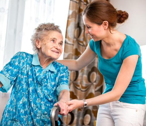 elderly woman with companion